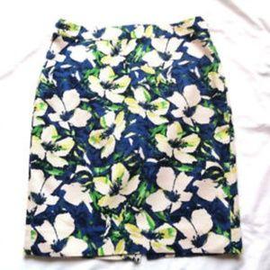 J Crew Basketweave Floral Watercolor Pencil Skirt